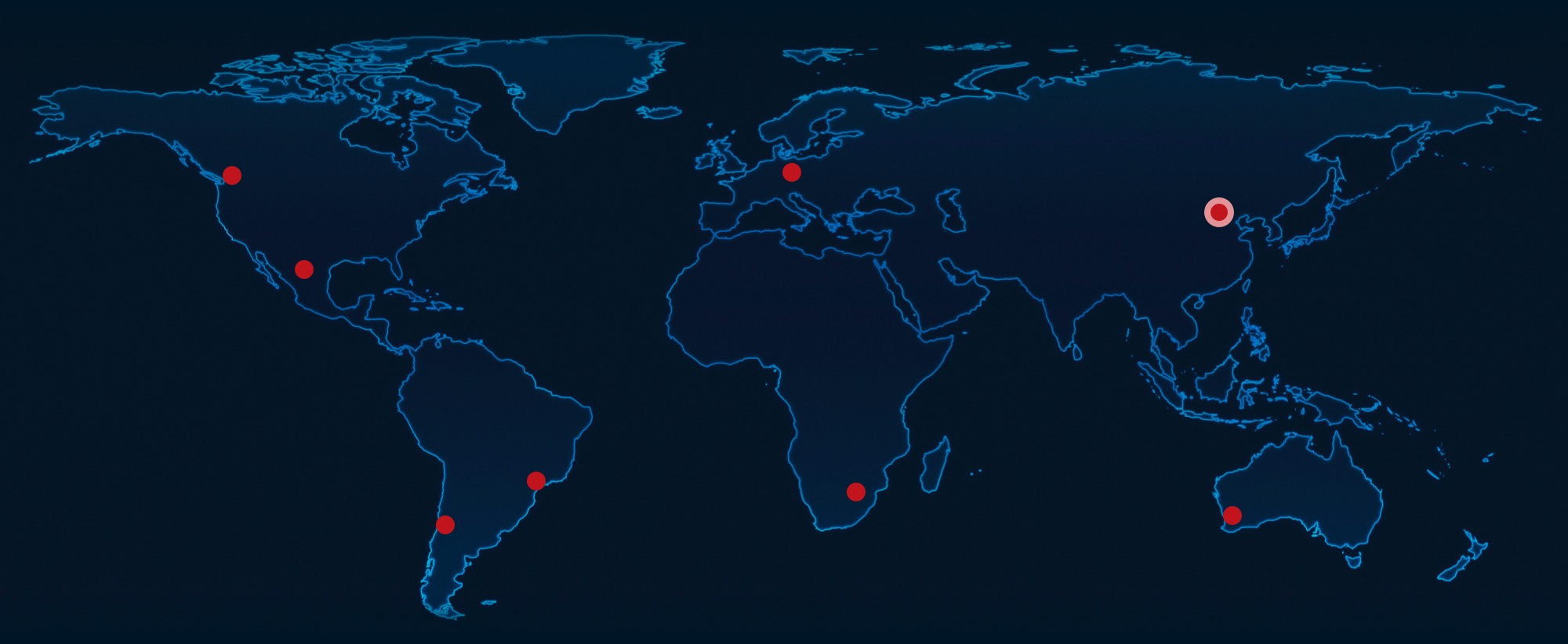 Global offices in Canada, South Africa, Chile, Brazil, Mexico, China, Australia, Germany